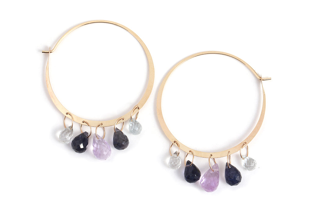 Multistone Drop Hoop Earrings - Melissa Joy Manning Jewelry