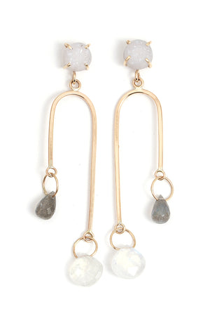 White Druzy, Labradorite, and Moonstone Mobile Earrings - Melissa Joy Manning Jewelry