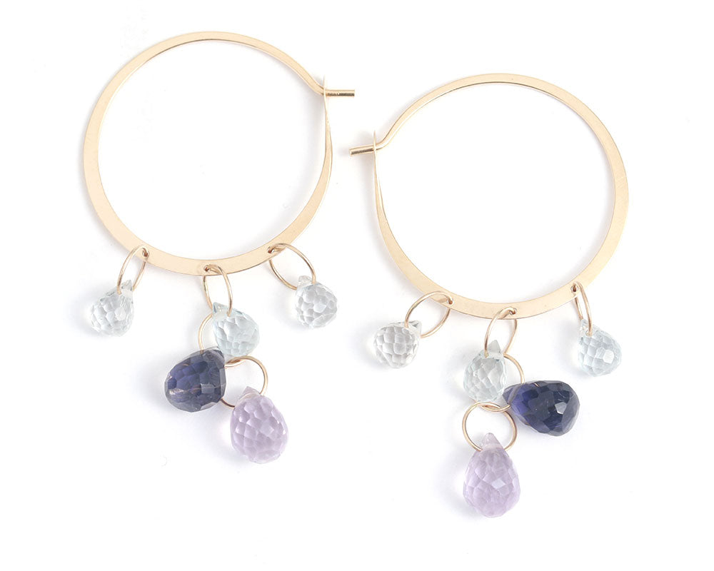 Iolite, Amethyst, and Topaz Hoop Earrings - Melissa Joy Manning Jewelry