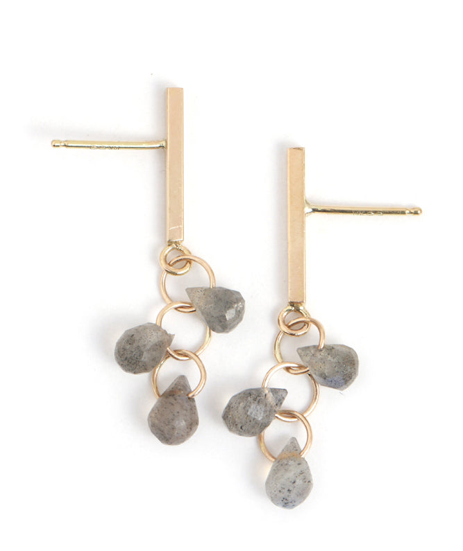 Vert Bar Earrings with Labradorite Drop Cluster - Melissa Joy Manning Jewelry
