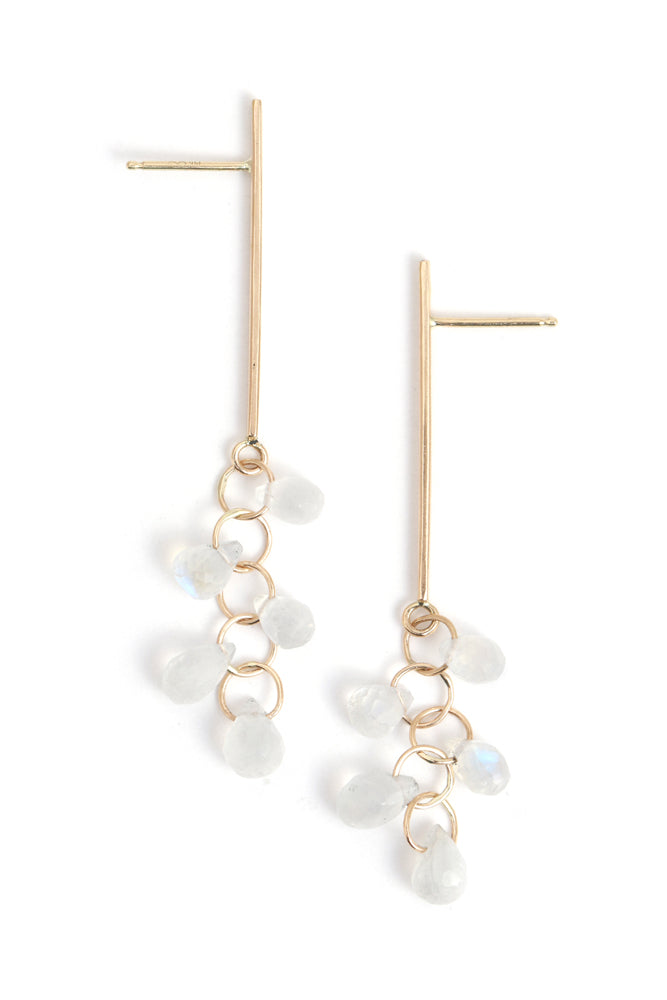 Elongated Vert Bar Earrings with Moonstone Drop Cluster - Melissa Joy Manning Jewelry