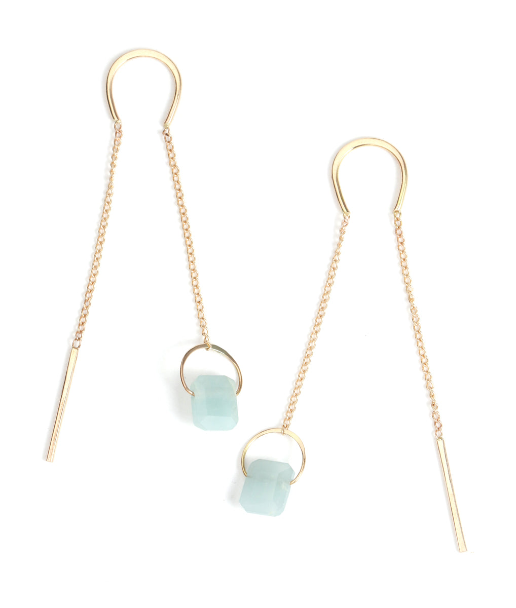 opaque aquamarine emerald cut pull through earrings