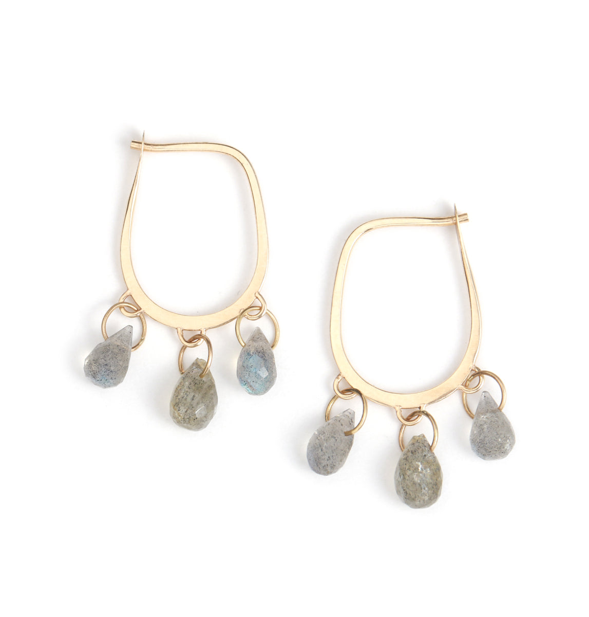 Tear drop hoops with 6 tiny labradorite drops
