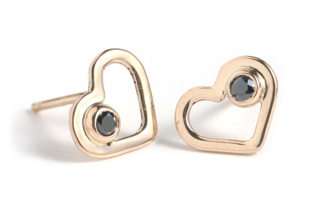 Gold Heart Studs with Black Diamonds
