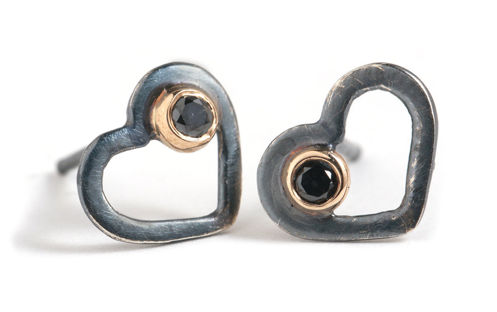 Mixed Metal Heart Studs with Black Diamonds