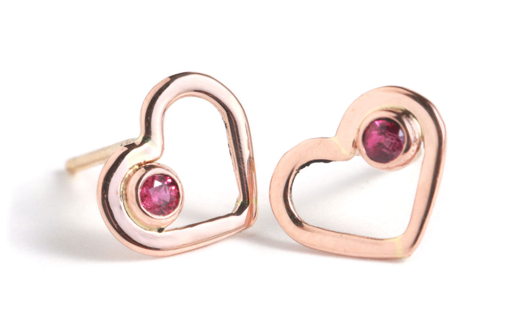 Rose Gold Heart Studs with Rubies