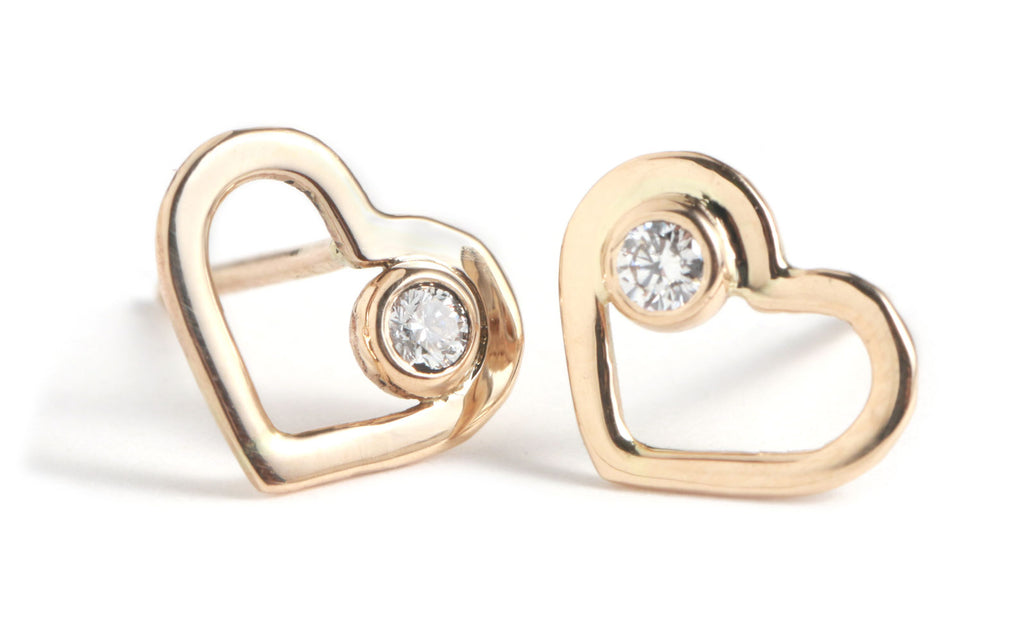 Gold Heart Studs with White Diamonds