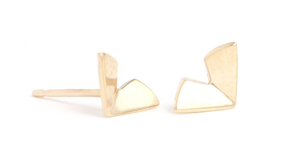 Medium Origami Studs - Gold - Melissa Joy Manning Jewelry