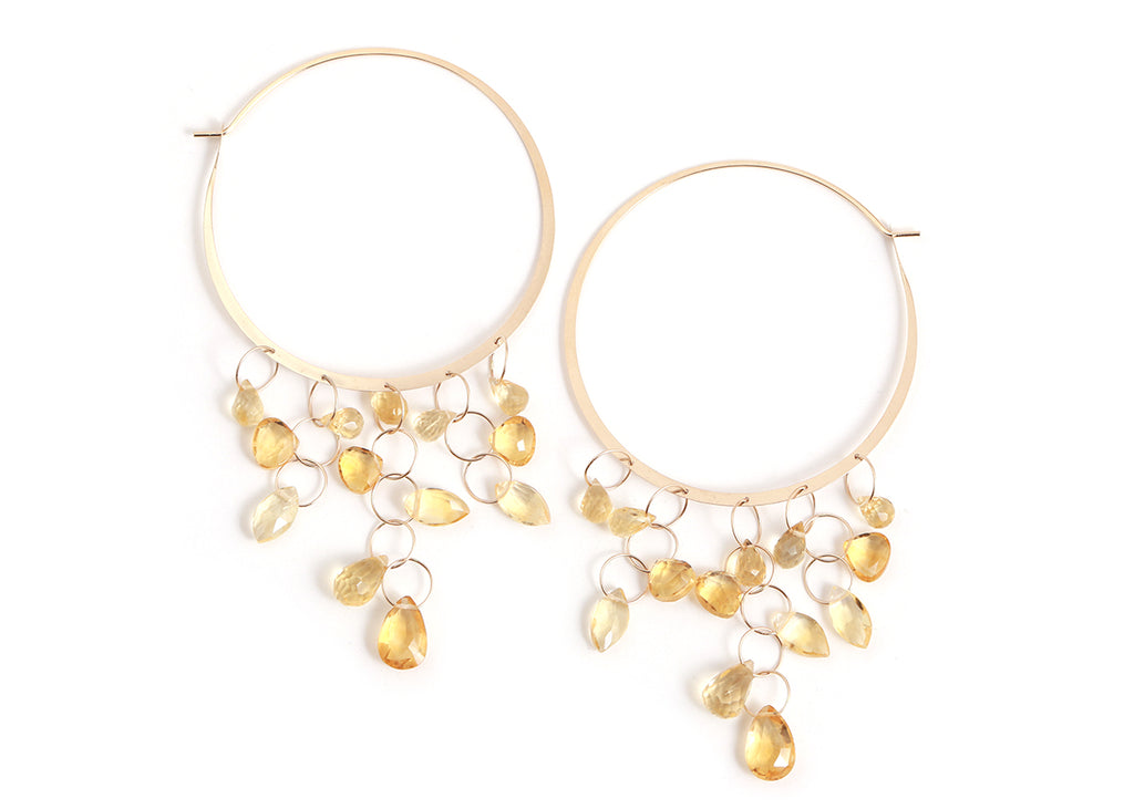 Mixed Citrine Hoop Earrings - Melissa Joy Manning Jewelry