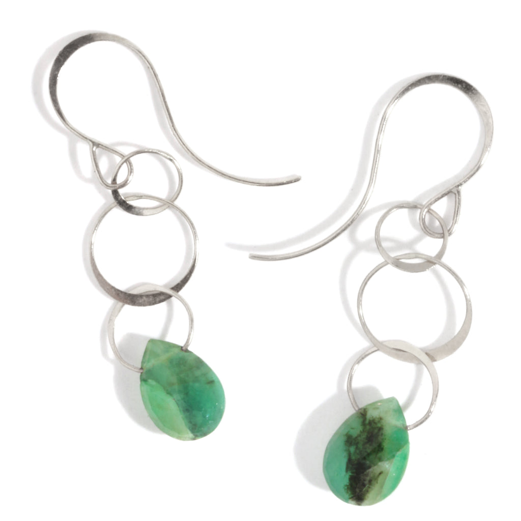 Emerald single drop earrings - Melissa Joy Manning Jewelry