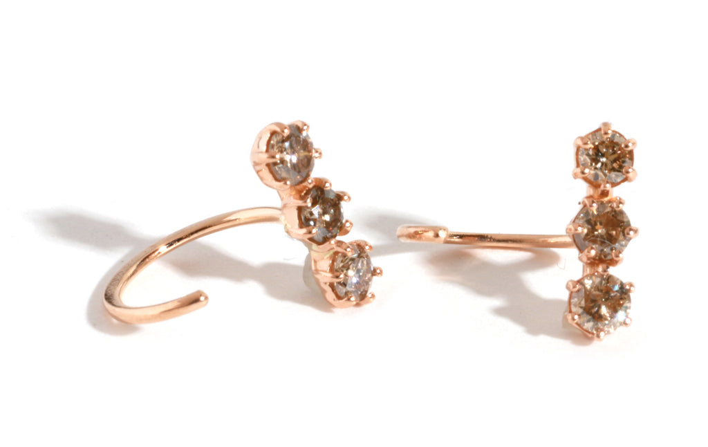 Triple Diamond Hug Hoops - 18 Karat Rose Gold