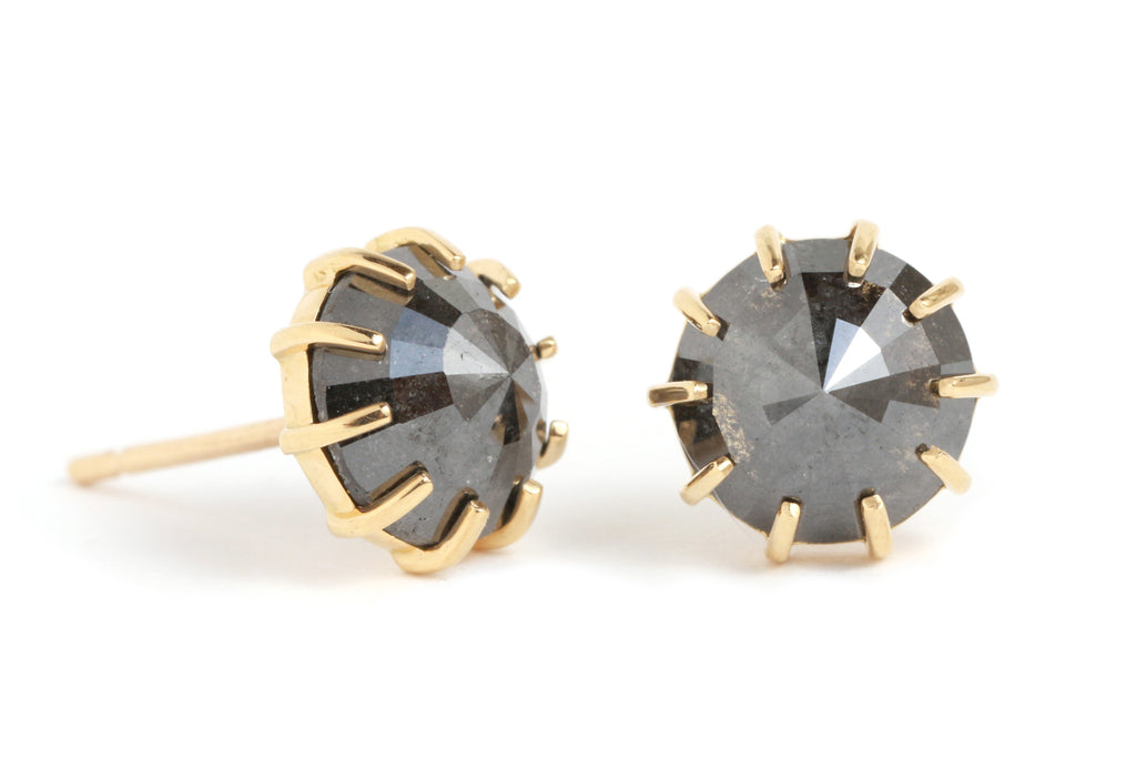 Prong Set Black Diamond Stud Earrings