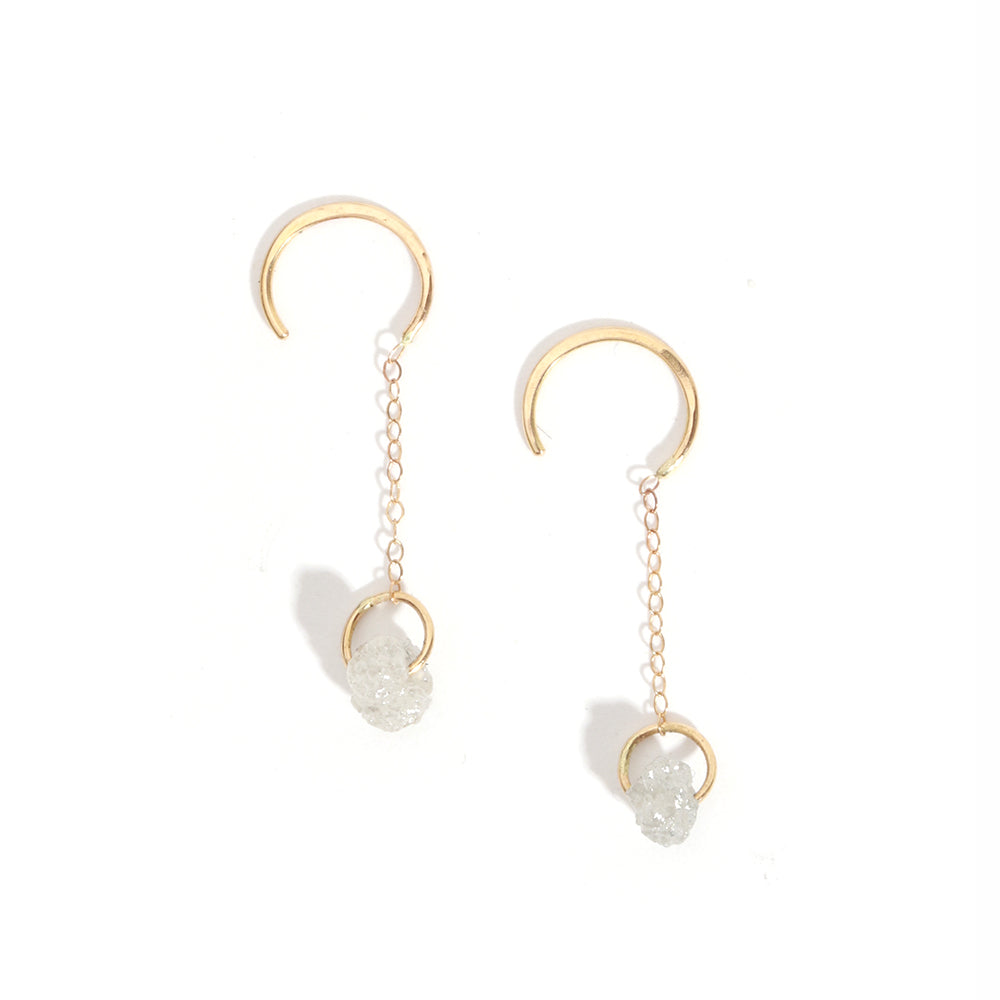 Rough Diamond Hug Drop Earrings