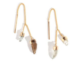 Natural Diamond Pull Through Chain Earrings