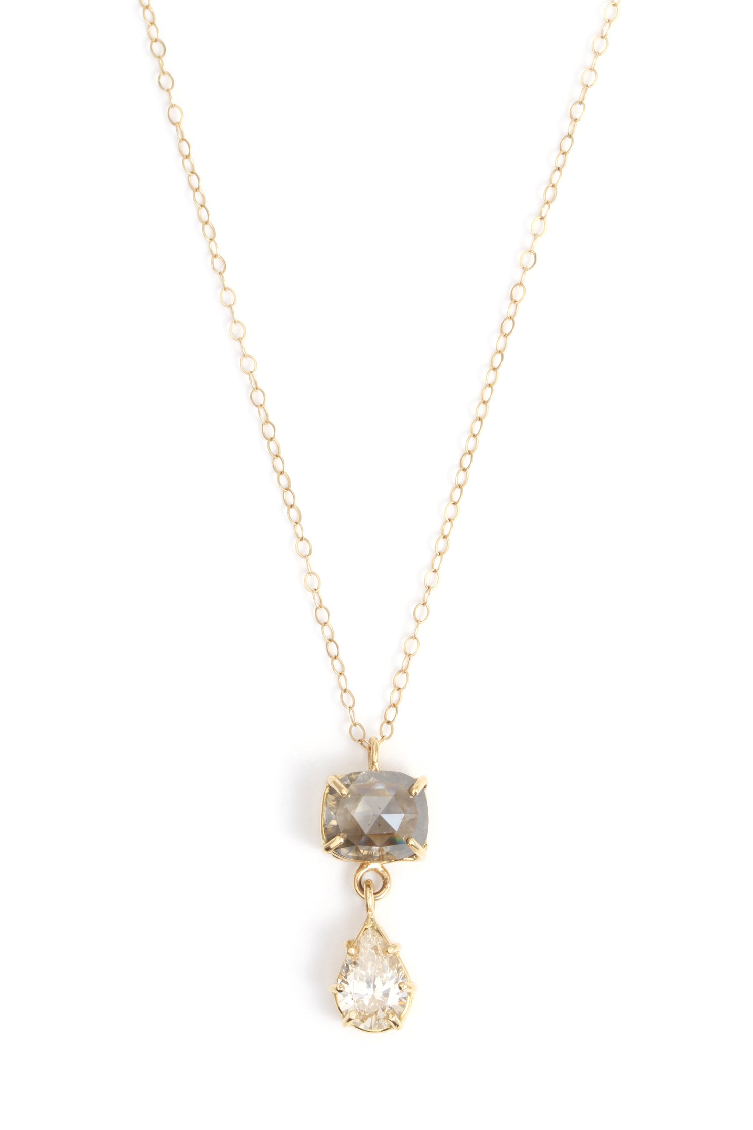 Double Diamond Pendant Necklace - Melissa Joy Manning Jewelry