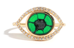 Trapiche Emerald and Diamond Eye Ring