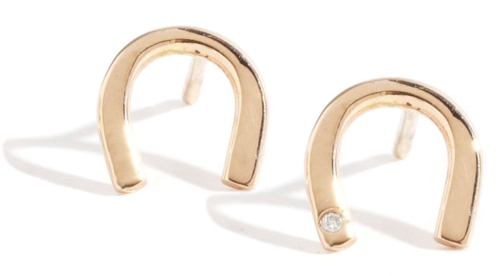 Diamond horseshoe stud earrings - Melissa Joy Manning Jewelry