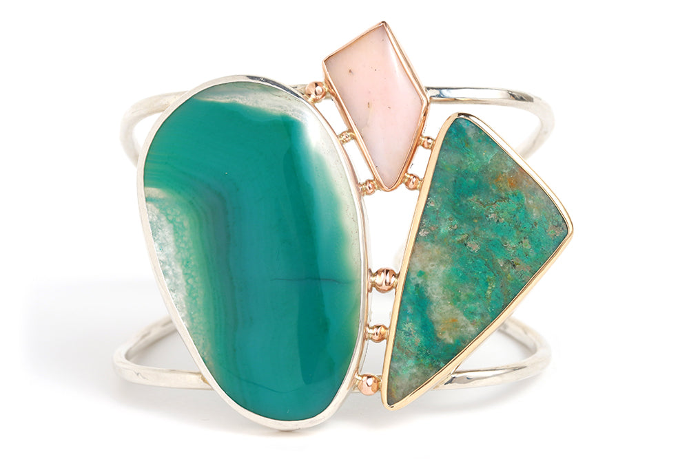 Green Agate, Chrysocolla, and Pink Opal cuff - Melissa Joy Manning Jewelry