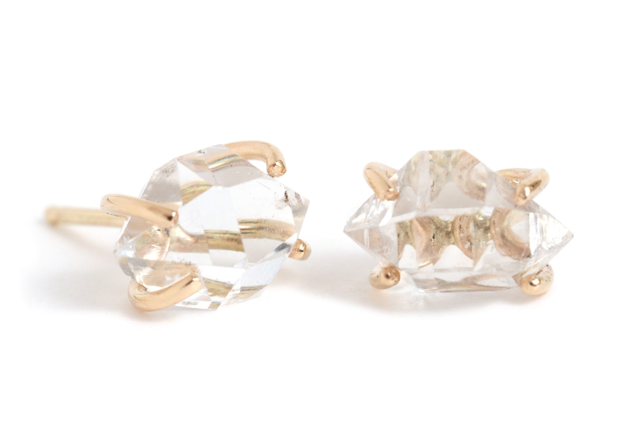Prong set Herkimer diamond stud earrings