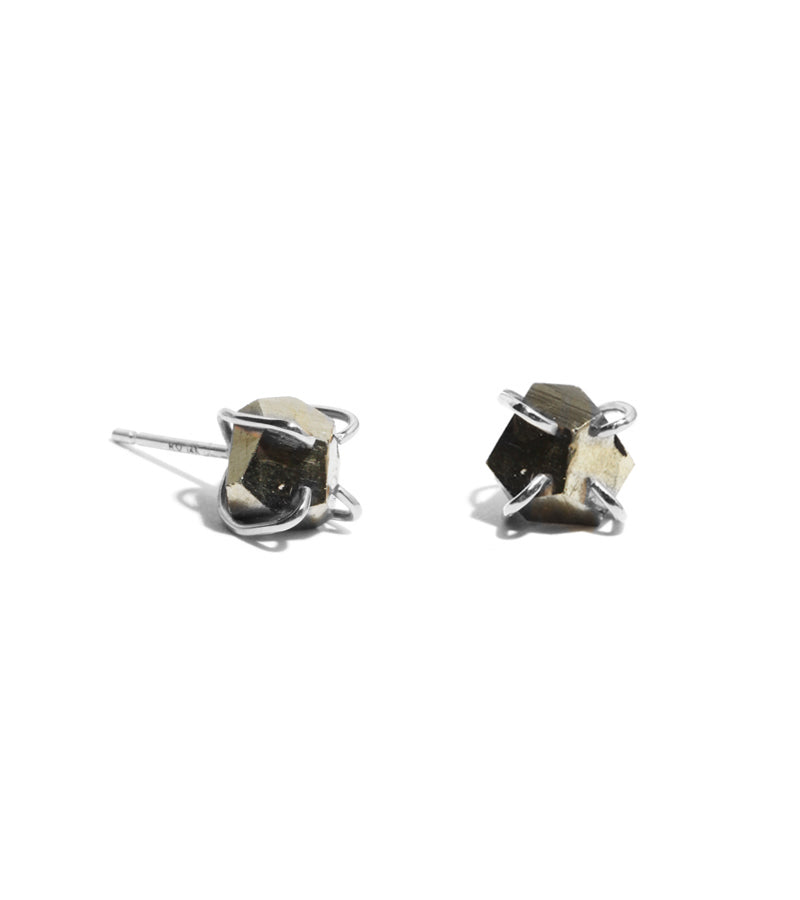 Pyrite Chunk Stud Earrings
