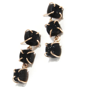 Black Druzy Triple Drop Earrings - Melissa Joy Manning Jewelry