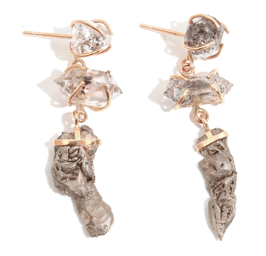 Quartz and Titanium Crystal Drop Earrings - Melissa Joy Manning Jewelry