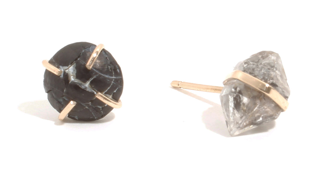 Quartz and Snakeskin Agate Mismatched Stud Earrings