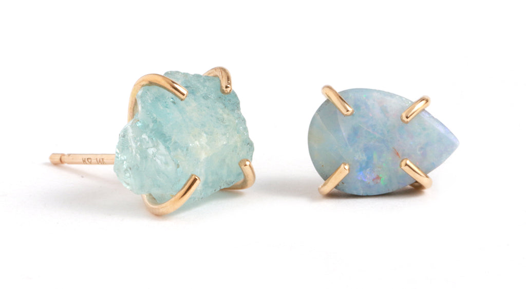 Opal and Aquamarine Mismatched Stud Earrings