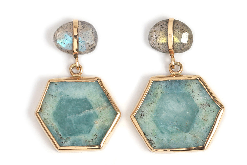 Labradorite and Aqua Slice Drop Earrings - Melissa Joy Manning Jewelry