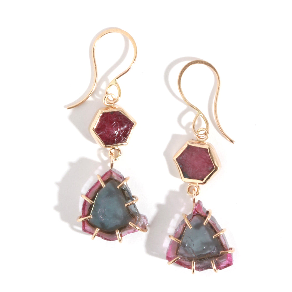Ruby and Watermelon Tourmaline Drop Earrings