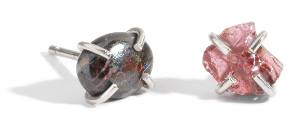 Opal and Garnet Mismatched Studs
