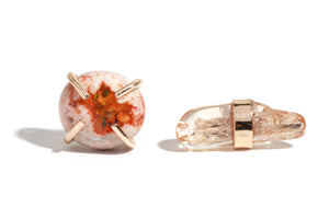 Jelly Opal and Imperial Topaz Mismatched Studs - Melissa Joy Manning Jewelry