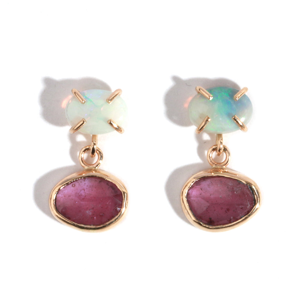 White Opal and Pink Sapphire Two Drop Earrings