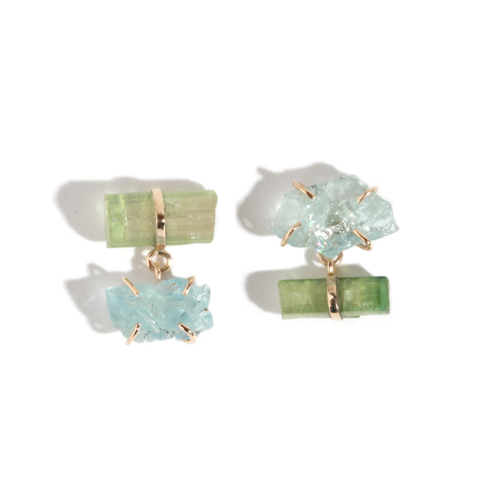 Aqua and Tourmaline Drop Earrings - Melissa Joy Manning Jewelry