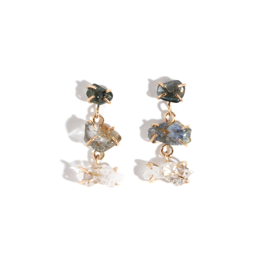 Corundum and Quartz Three Drop Earrings - Melissa Joy Manning Jewelry