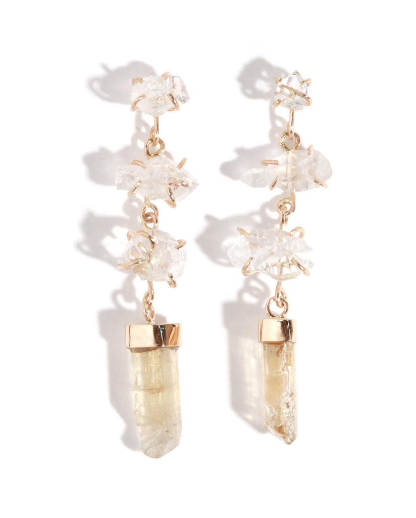 Crystal and Imperial Topaz Drop Earrings