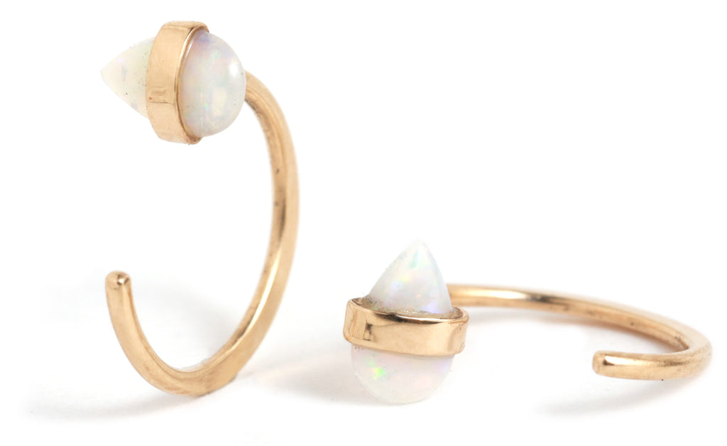 Bezel Wrapped Opal Hug Hoops - Melissa Joy Manning Jewelry