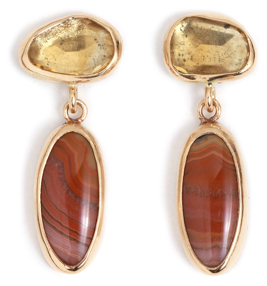 Citrine and Dryhead Agate Two Drop Earrings - Melissa Joy Manning Jewelry