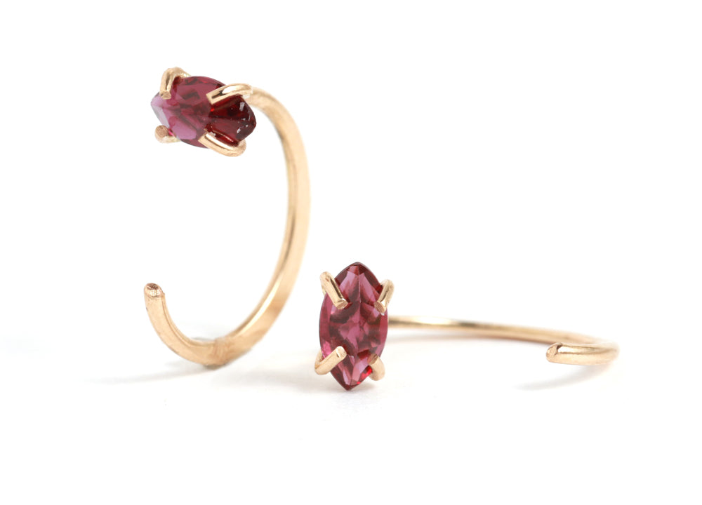 Prong Set Garnet Hug Hoops - Melissa Joy Manning Jewelry