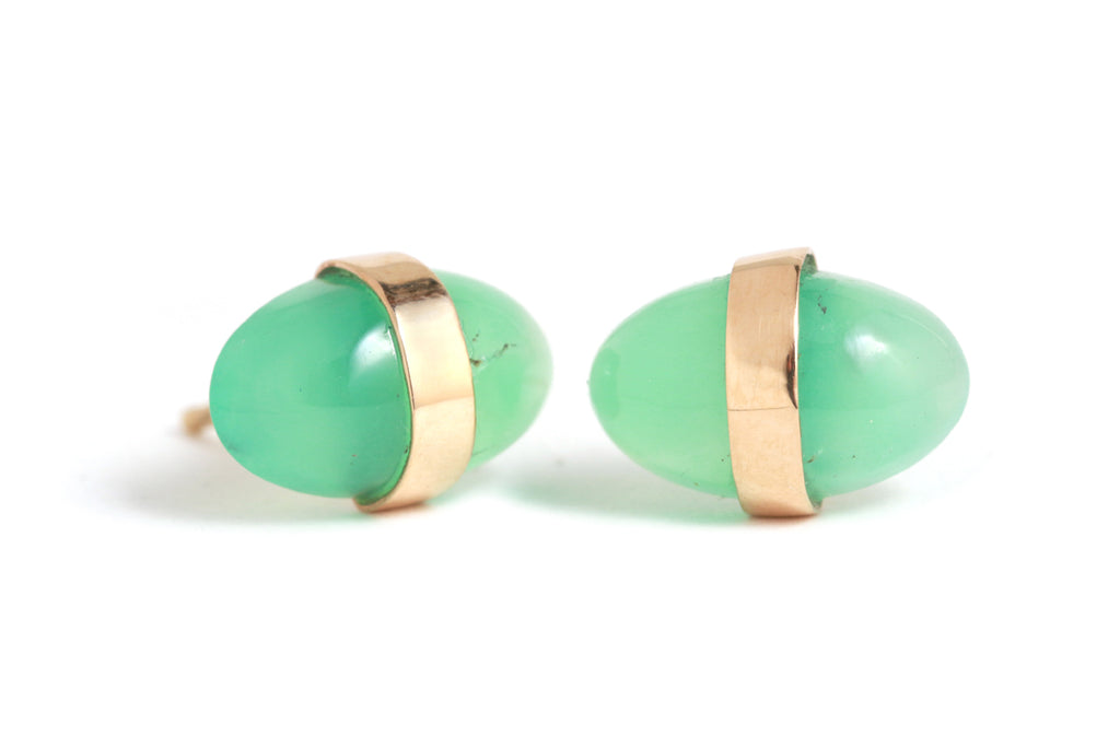 Bezel Wrapped Chrysoprase Studs