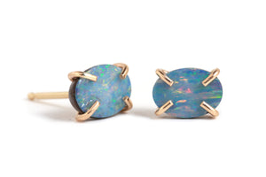 Prong Set Opal Oval Stud Earrings - Melissa Joy Manning Jewelry