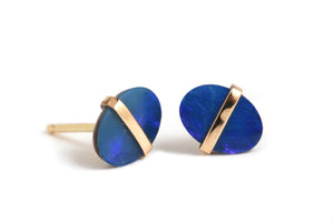 Bezel Wrapped Opal Oval Stud Earrings - Melissa Joy Manning Jewelry