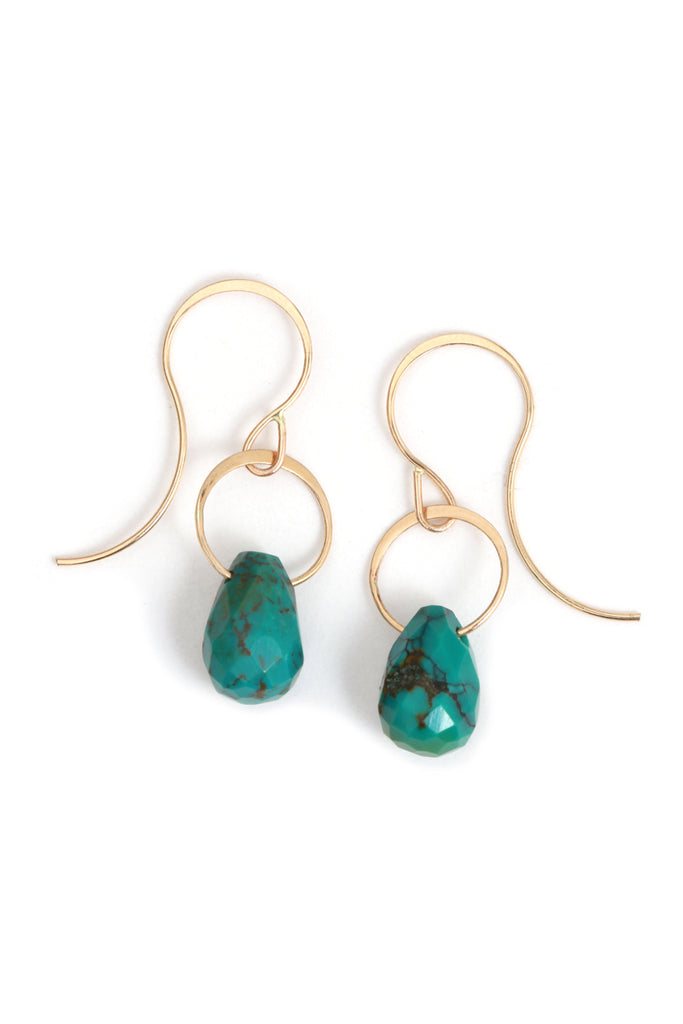 Veined Turquoise Drop Earrings