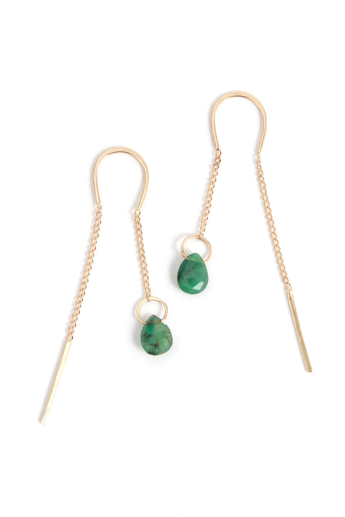Emerald Pull Through Earrings