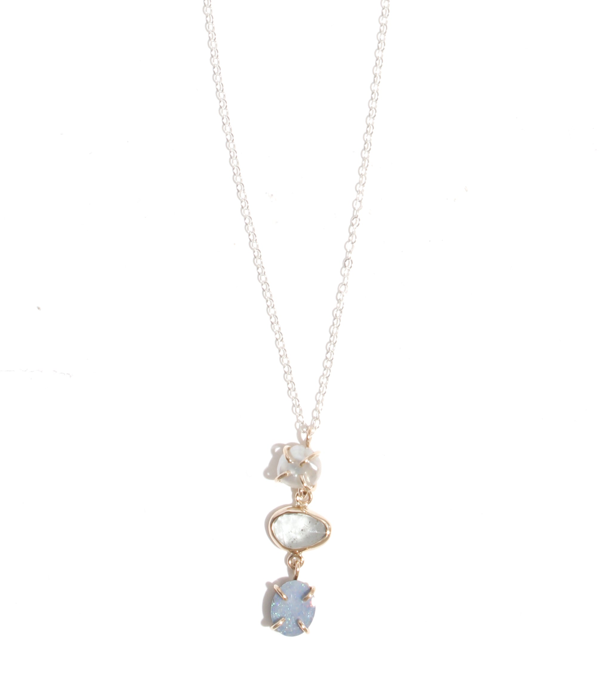 Pearl, Aqua, and Opal Drop Necklace - Melissa Joy Manning Jewelry