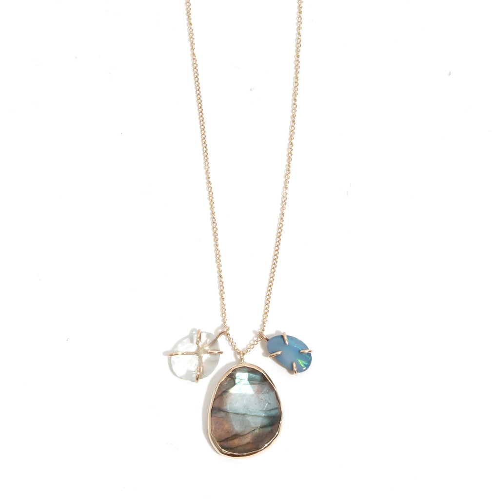 Labradorite, Aqua, and Opal Charm Necklace - Melissa Joy Manning Jewelry