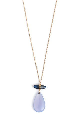 Blue Sapphire and Chalcedony Two Drop Necklace - Melissa Joy Manning Jewelry