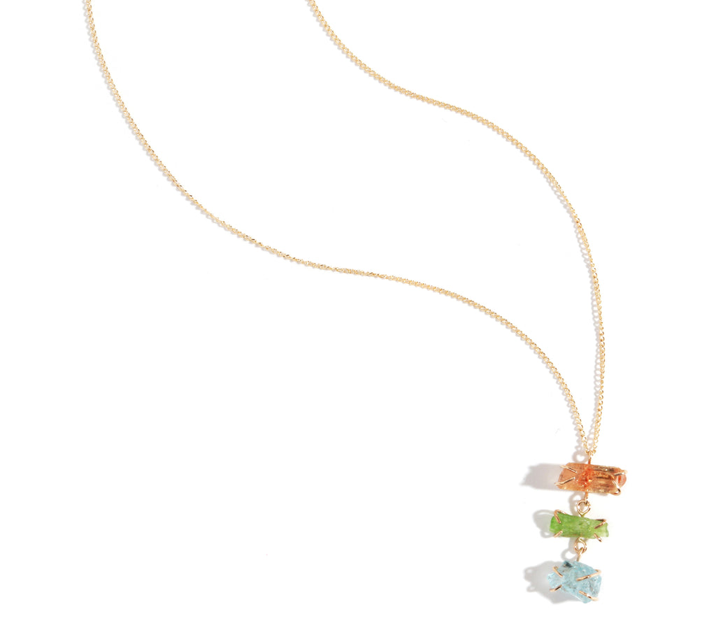 Imperial topaz, Tremolite, and Blue Apatite Three Drop Necklace - Melissa Joy Manning Jewelry