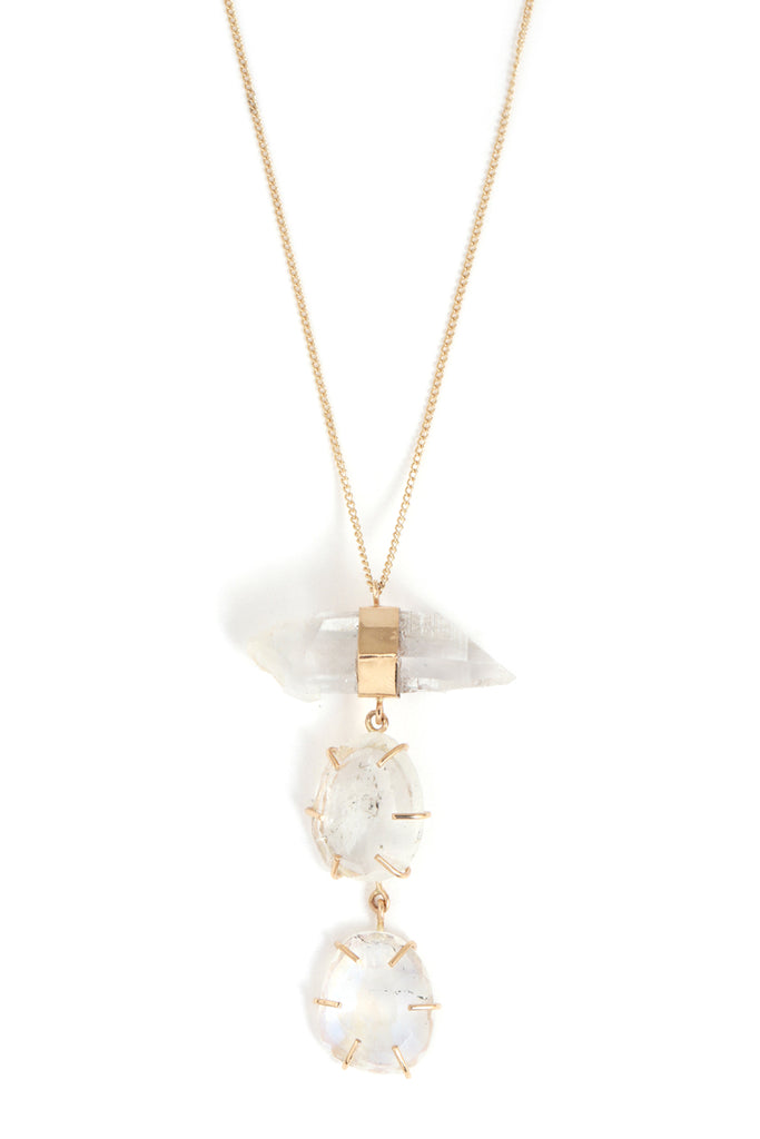 Quartz and Three Rainbow Moonstone Necklace