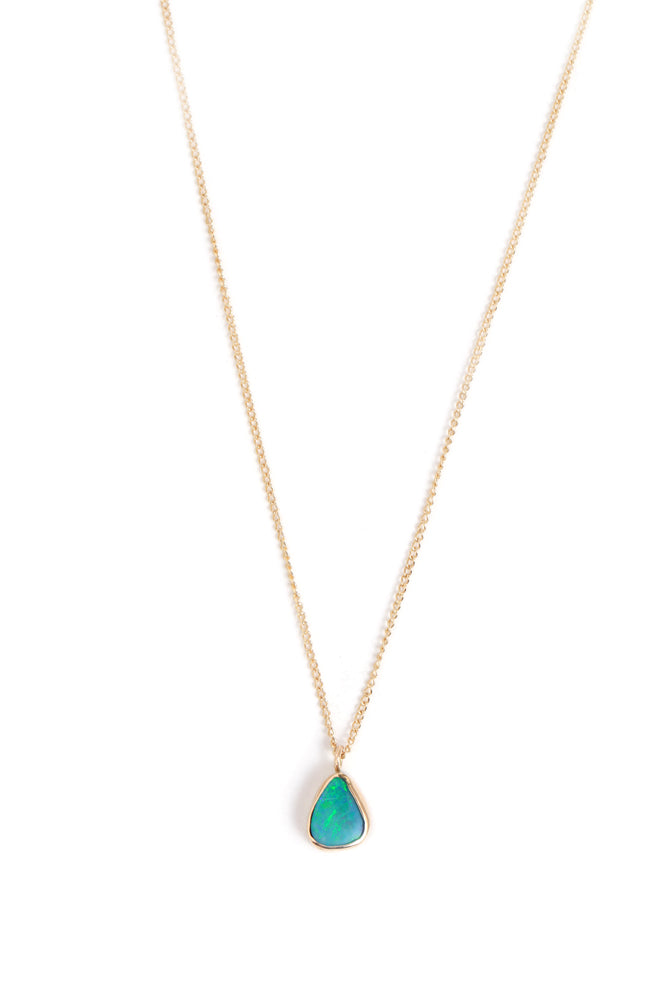 Tiny Bezel Set Opal Necklace
